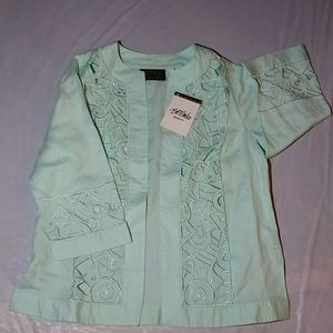 Bob Mackie Green/Embroidered/Cut Out Jacket